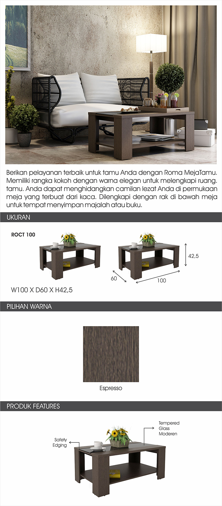 Pro Design Tiara Meja Tamu Espresso Khusus Jawa Bali Daftar Harga Brico 120 Sanremo Light Black Roma