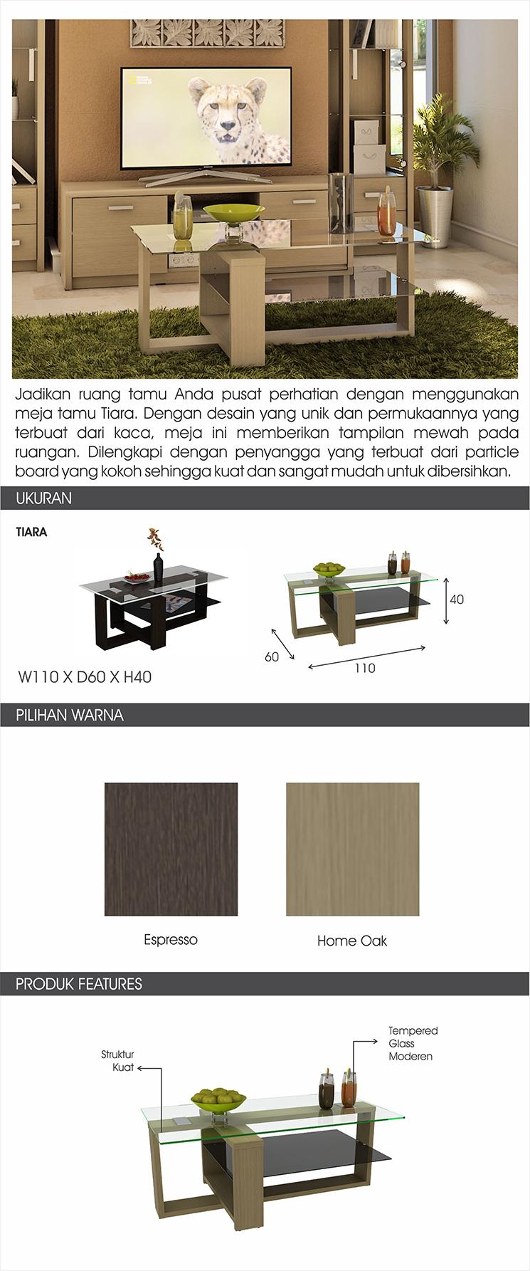 Pro Design Tiara Meja Tamu Espresso Khusus Jawa Bali Daftar Harga Brico 120 Sanremo Light Black